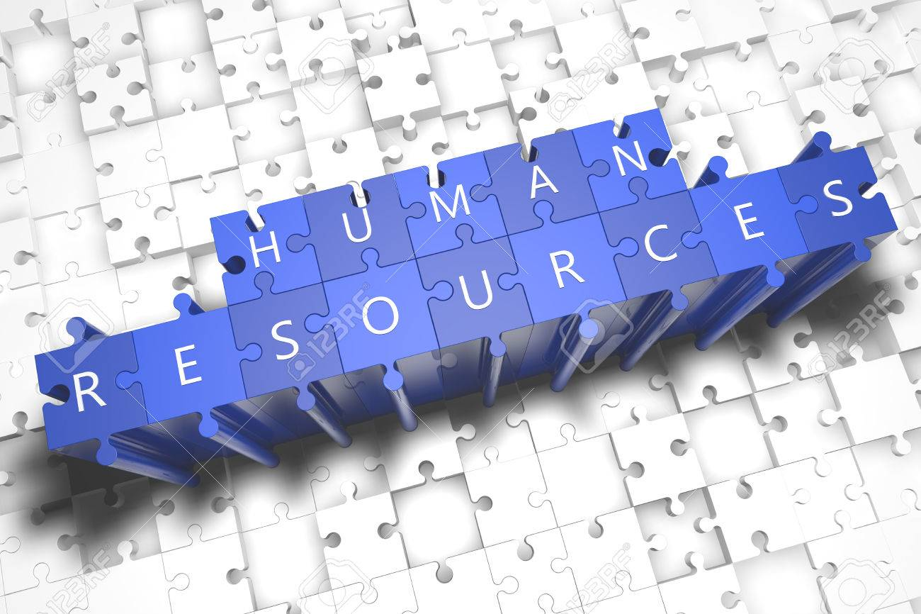Human Resources - puzzle 3d render illustration with block letters on blue jigsaw pieces - 34750346