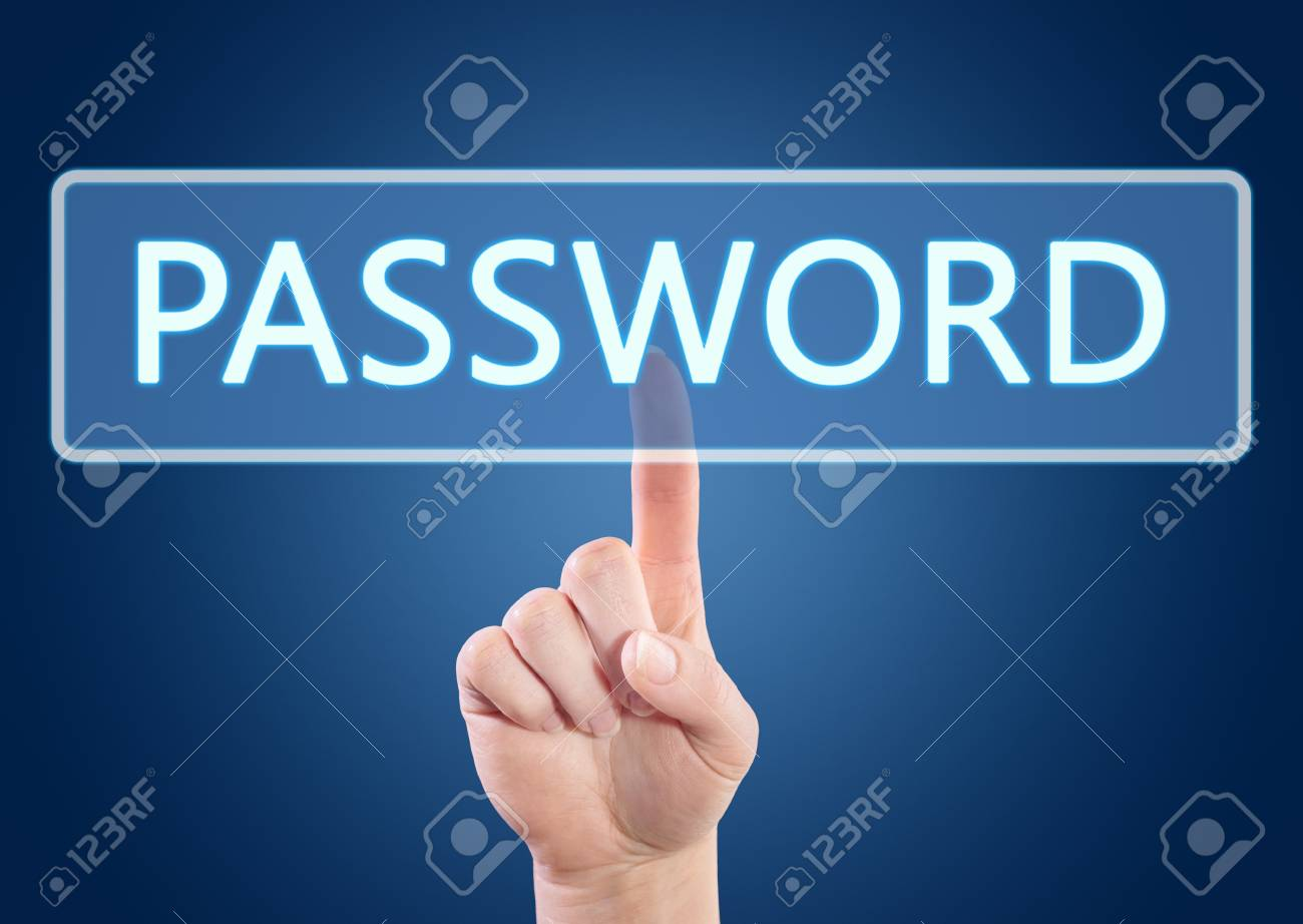 123Rf Password hand pressing password button on interface with blue background