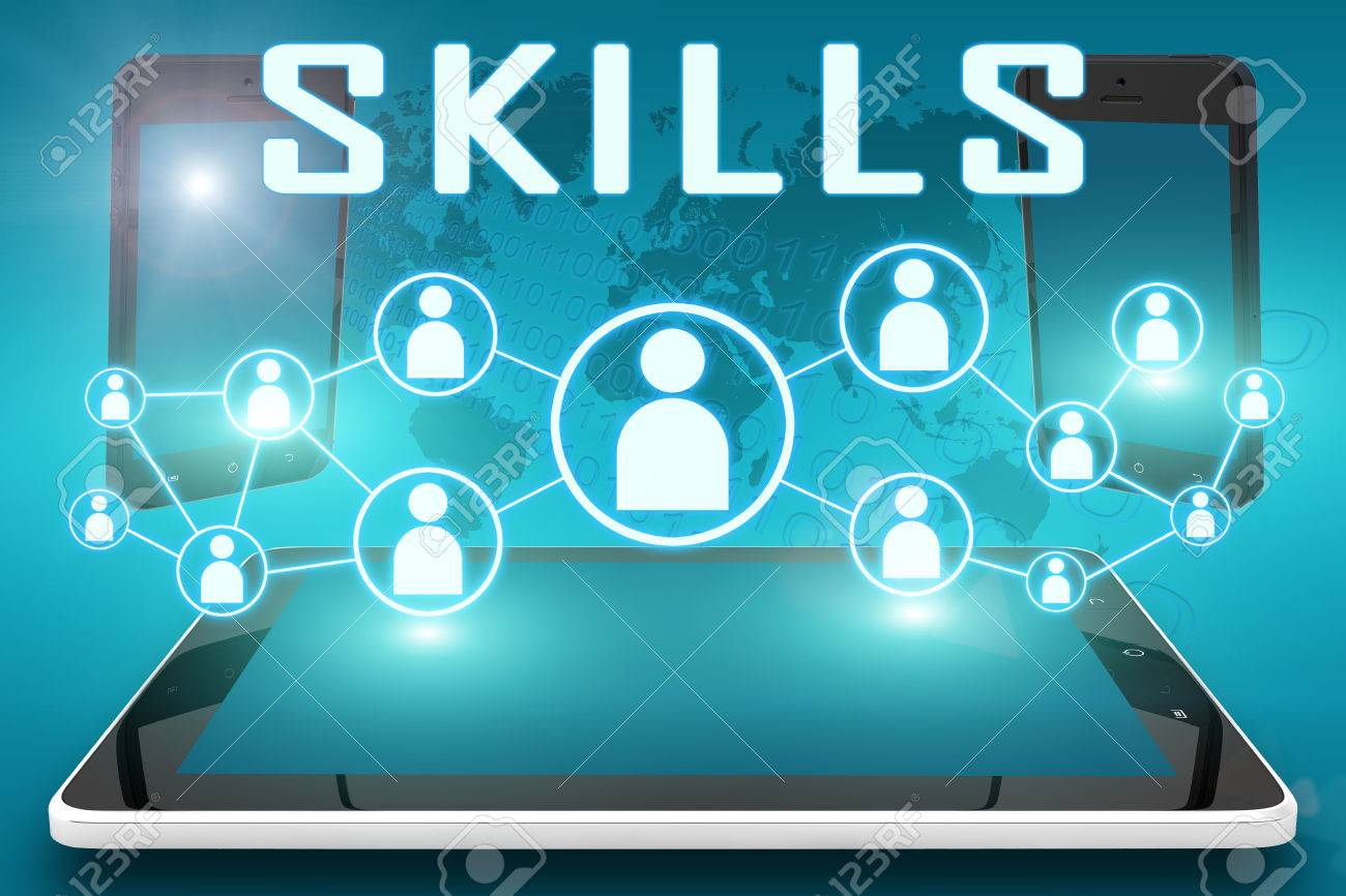 skills text illustration social icons and tablet computer illustration skills text illustration social icons and tablet computer and mobile cellphones on cyan digital world map background