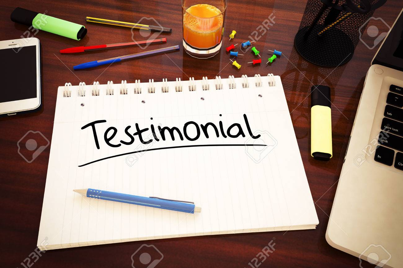 Testimonial - handwritten text in a notebook on a desk - 3d render illustration. - 35800360