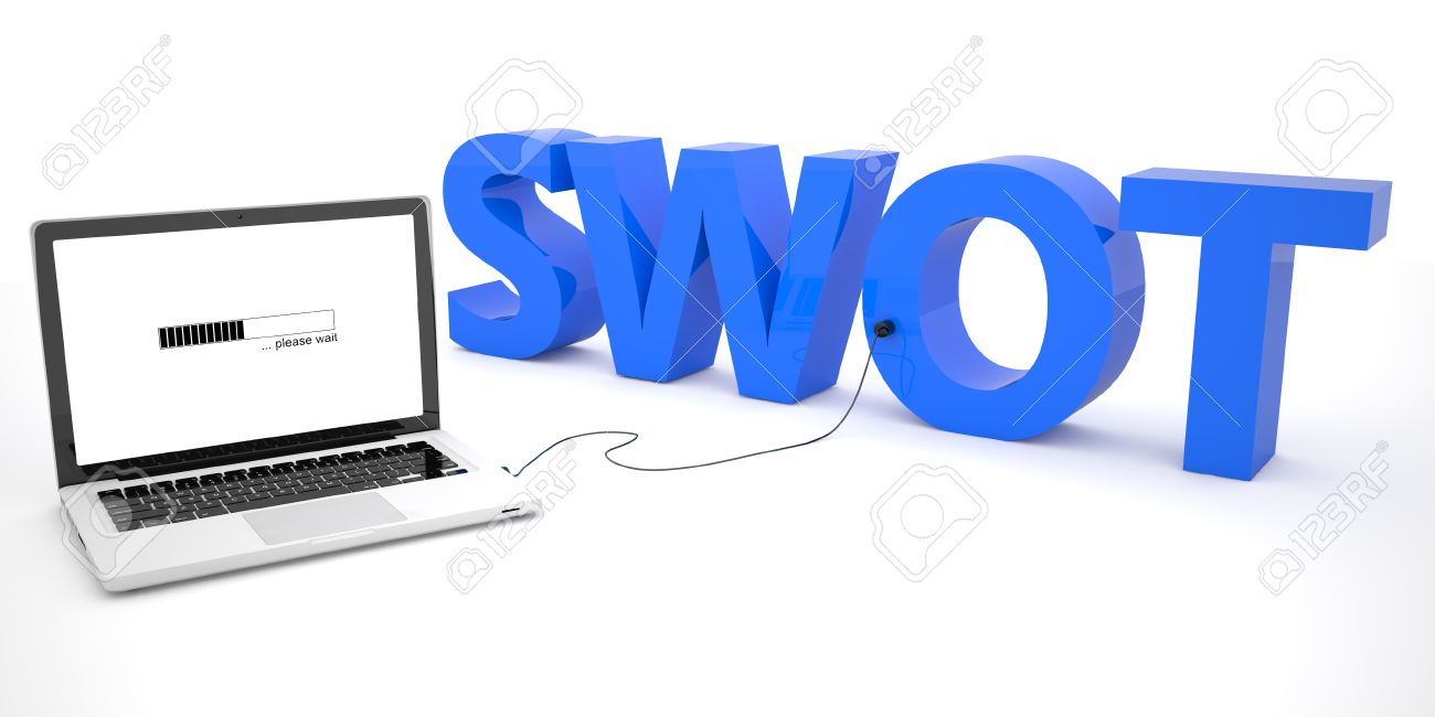 swot for strengths weaknesses opportunities and threats laptop illustration swot for strengths weaknesses opportunities and threats laptop computer connected to a word on white background 3d render illustration