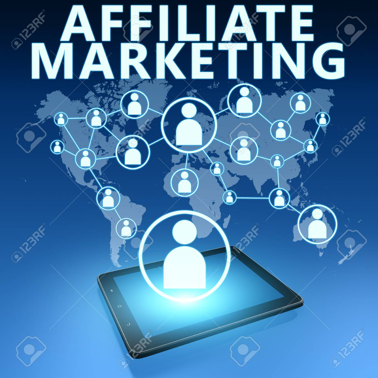 Affiliate Marketing illustration with tablet computer on blue background - 37948677