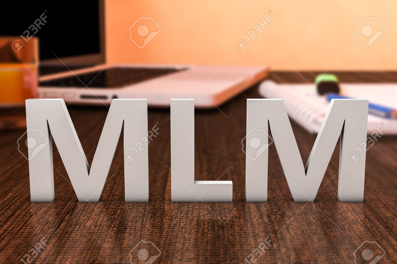 Superb Illustration   MLM   Multi Level Marketing   Letters On Wooden Desk With  Laptop Computer And A Notebook. 3d Render Illustration.