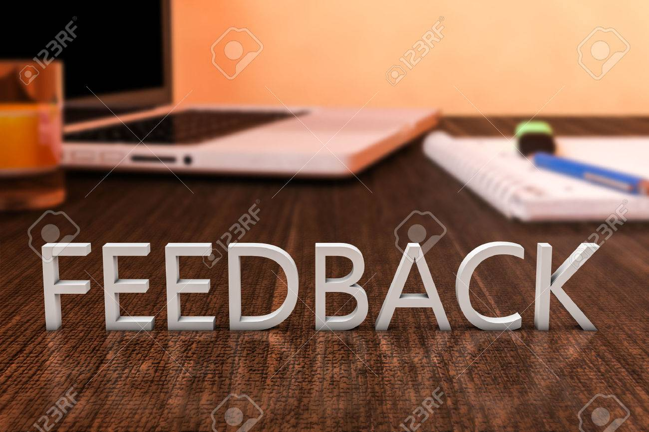 Feedback - letters on wooden desk with laptop computer and a notebook. 3d render illustration. - 40187358