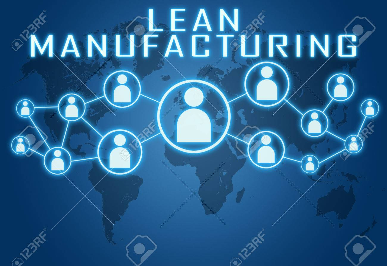 lean manufacturing concept on blue background with world map stock