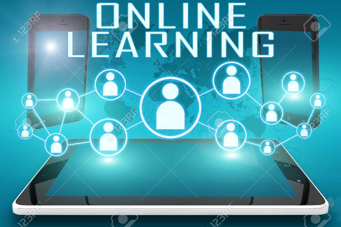 Online Learning - text illustration with social icons and tablet computer and mobile cellphones on cyan digital world map background. - 44030440