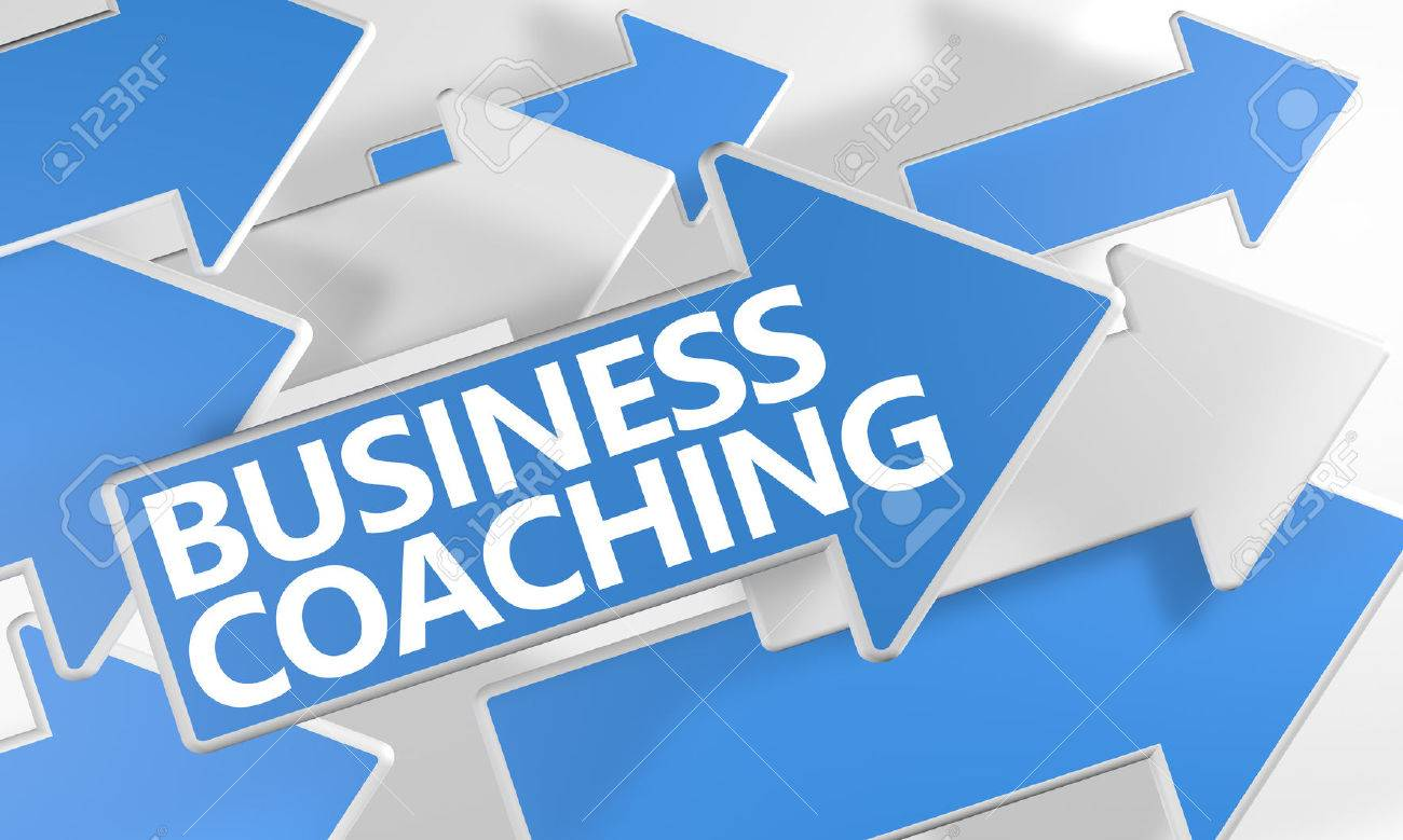 Business Coaching 3d render concept with blue and white arrows flying over a white background. - 44030702