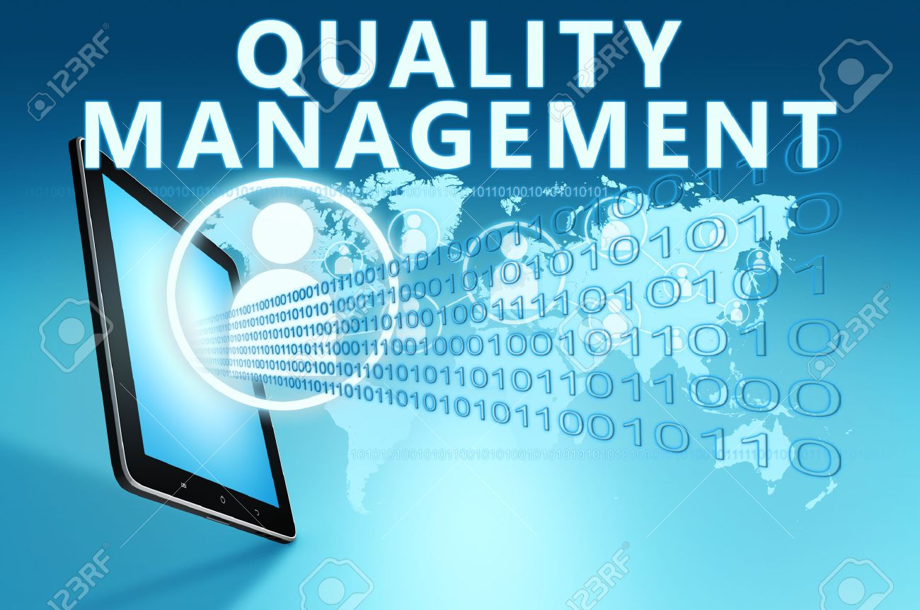Quality Management Illustration With Tablet Computer On Blue ...