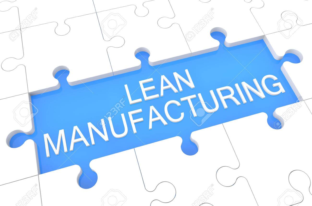 lean manufacturing puzzle 3d render illustration with word stock