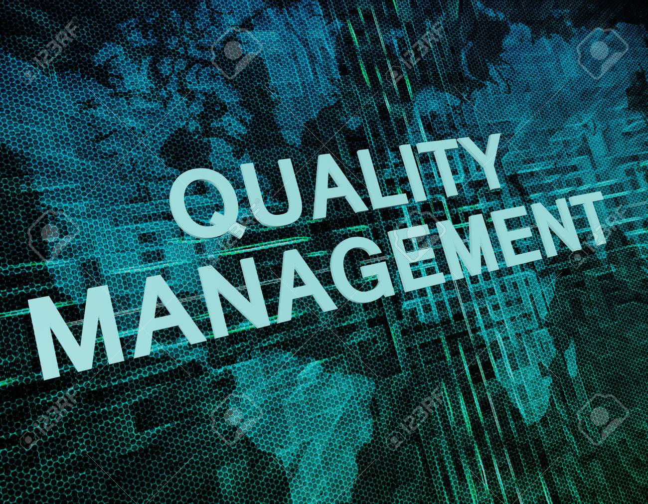 Quality Management text concept on green digital world map background - 46009779