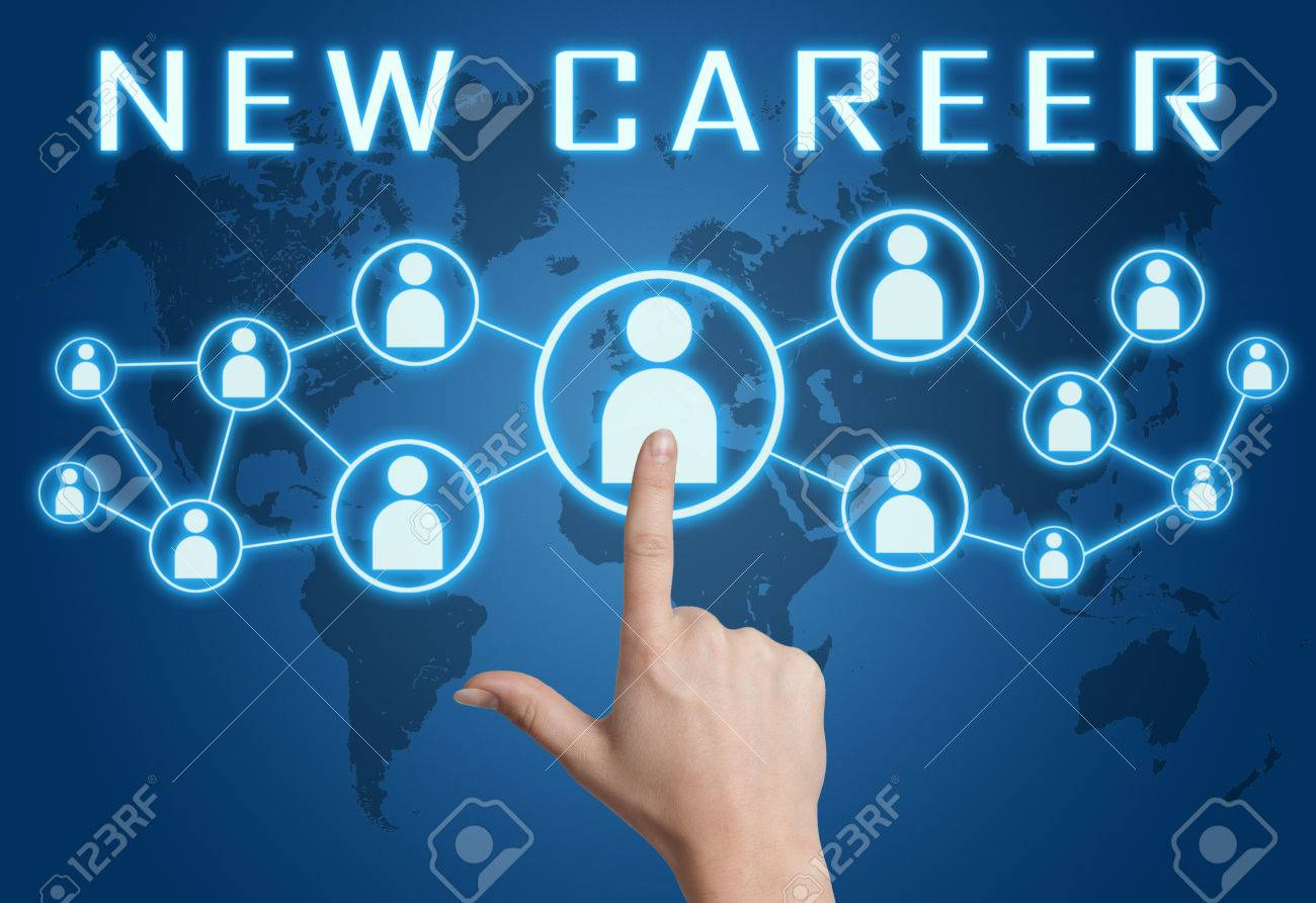 New Career concept with hand pressing social icons on blue world map background. - 46265749