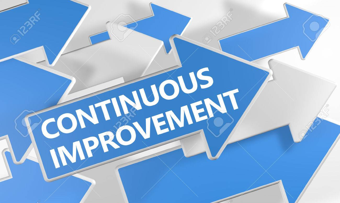 Continuous Improvement - 3d render concept with blue and white arrows flying over a white background. - 48499356