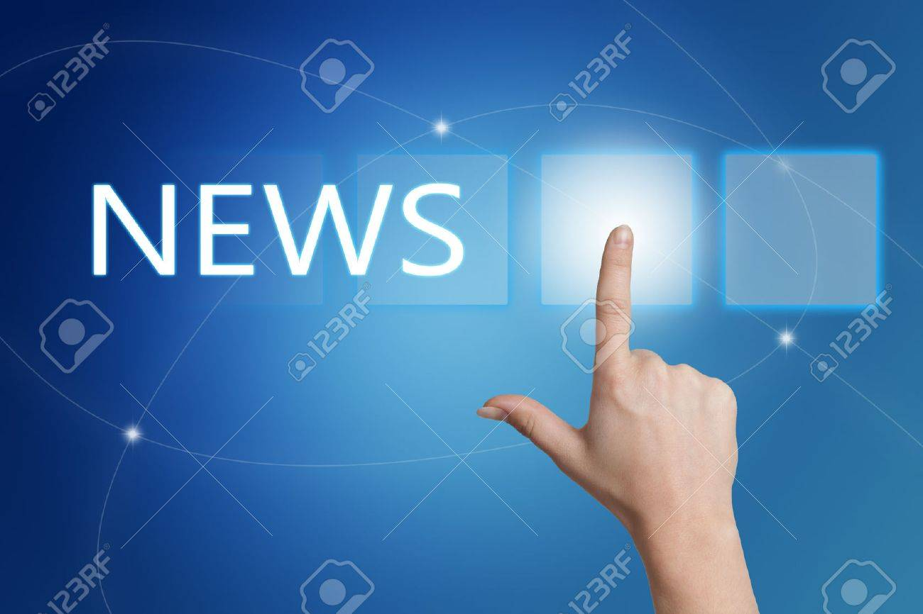 News - hand pressing button on interface with blue background. - 50678819