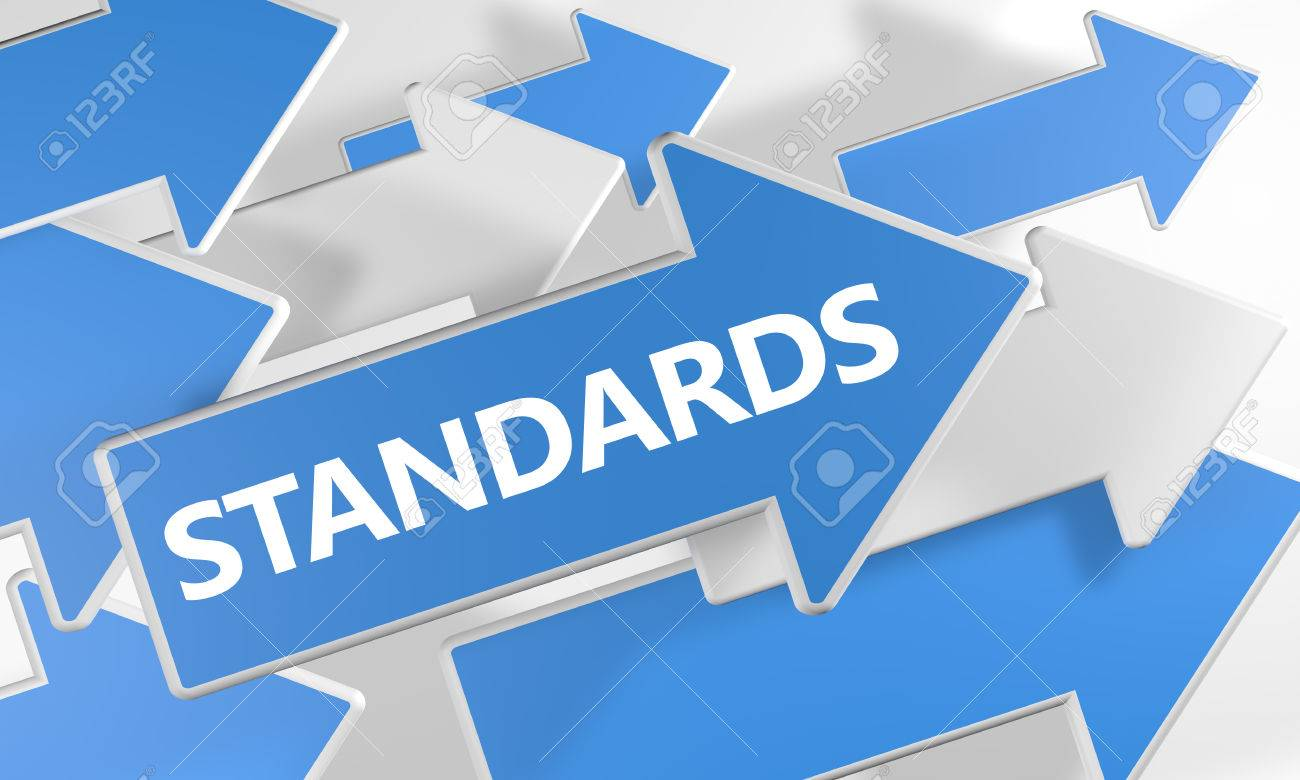 Standards 3d render concept with blue and white arrows flying over a white background. - 57425770