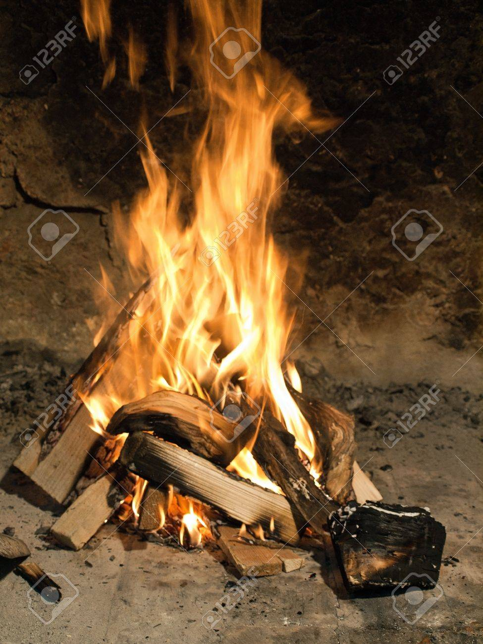Fire burning in a fireplace Stock Photo - 13164707