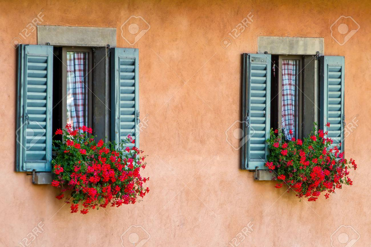 Vintage Windows With Open Wooden Shutters And Fresh Flowers Stock Photo Picture And Royalty Free Image Image 22722889