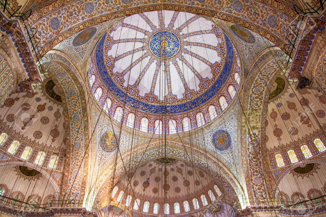 Ornamental interior of the Blue Mosque (Sultanahmet Camii), Istanbul, Turkey - 22715857