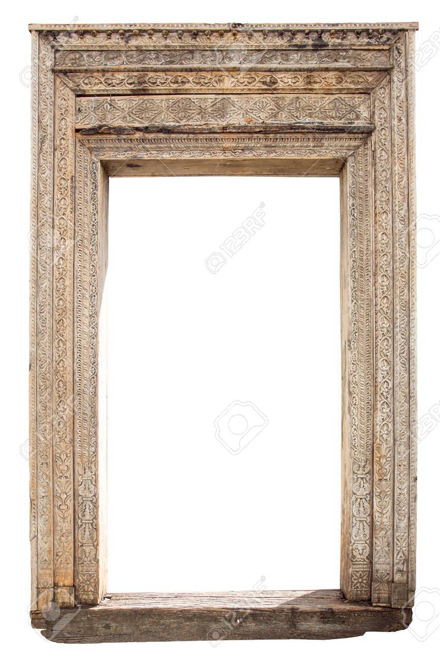 Old Weathered Carved Wooden Door Frame Isolated On White Stock Photo ...