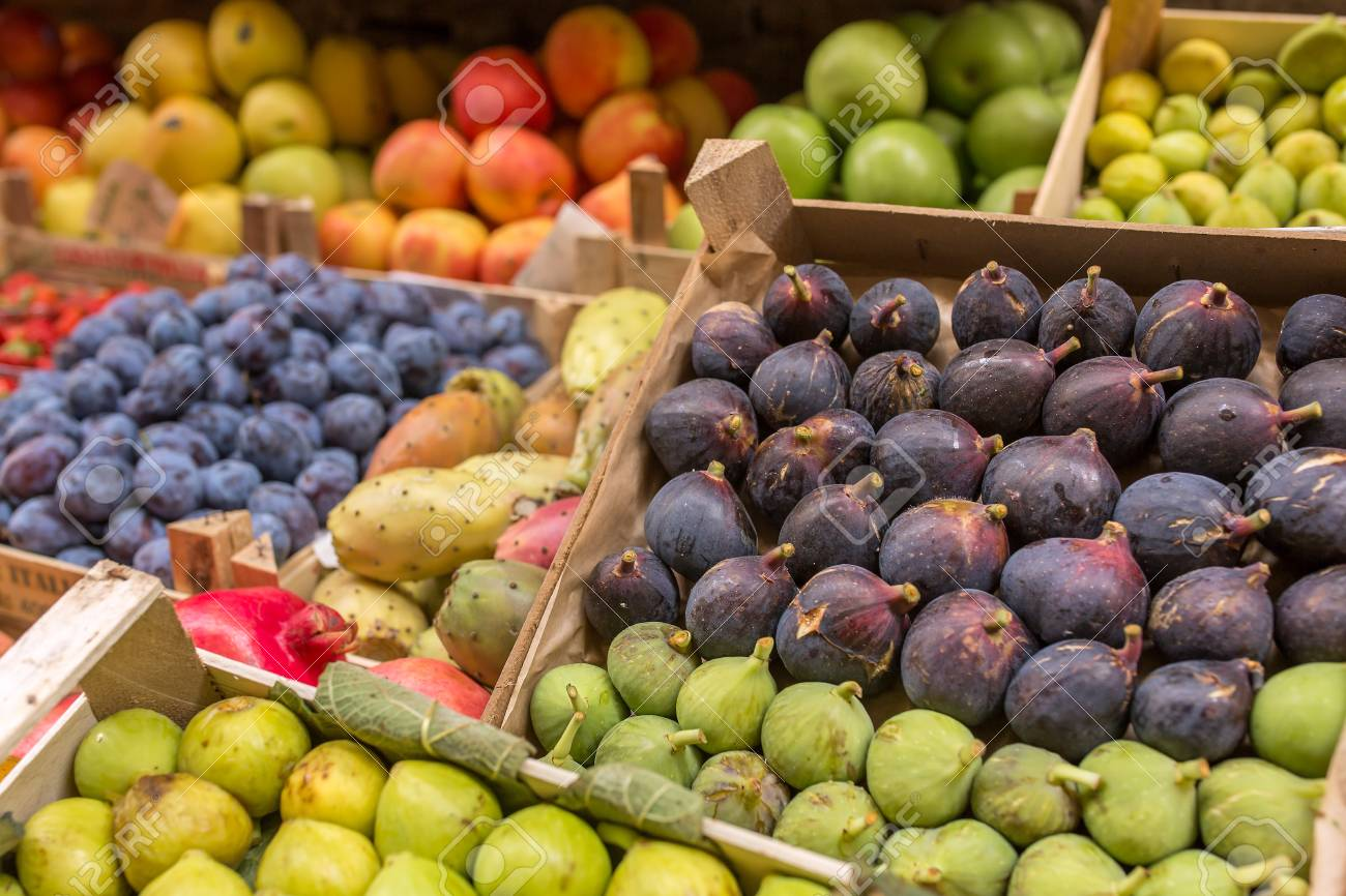 Fruits in boxes for sale in Italian market