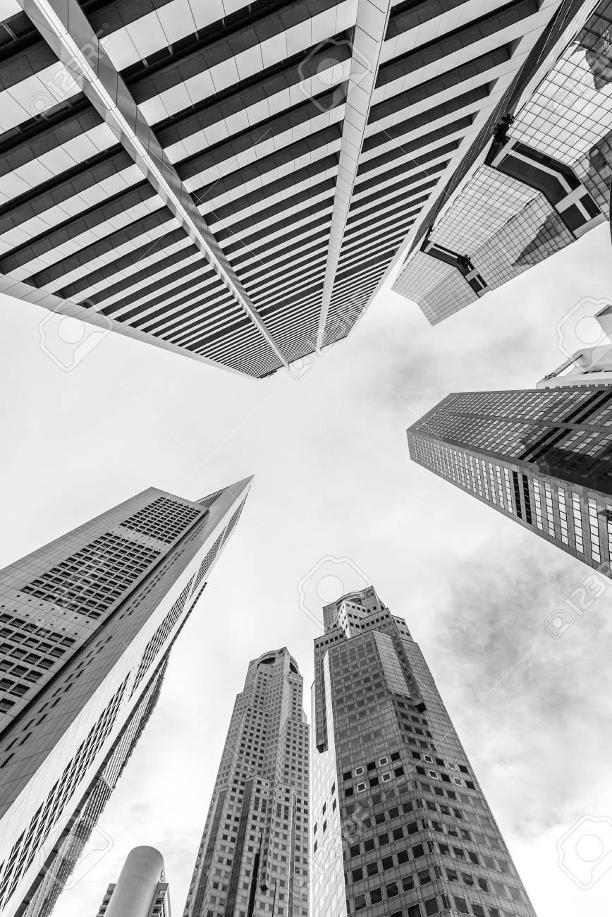Skyscrapers of central business district of singapore black and white photo stock photo 68159292