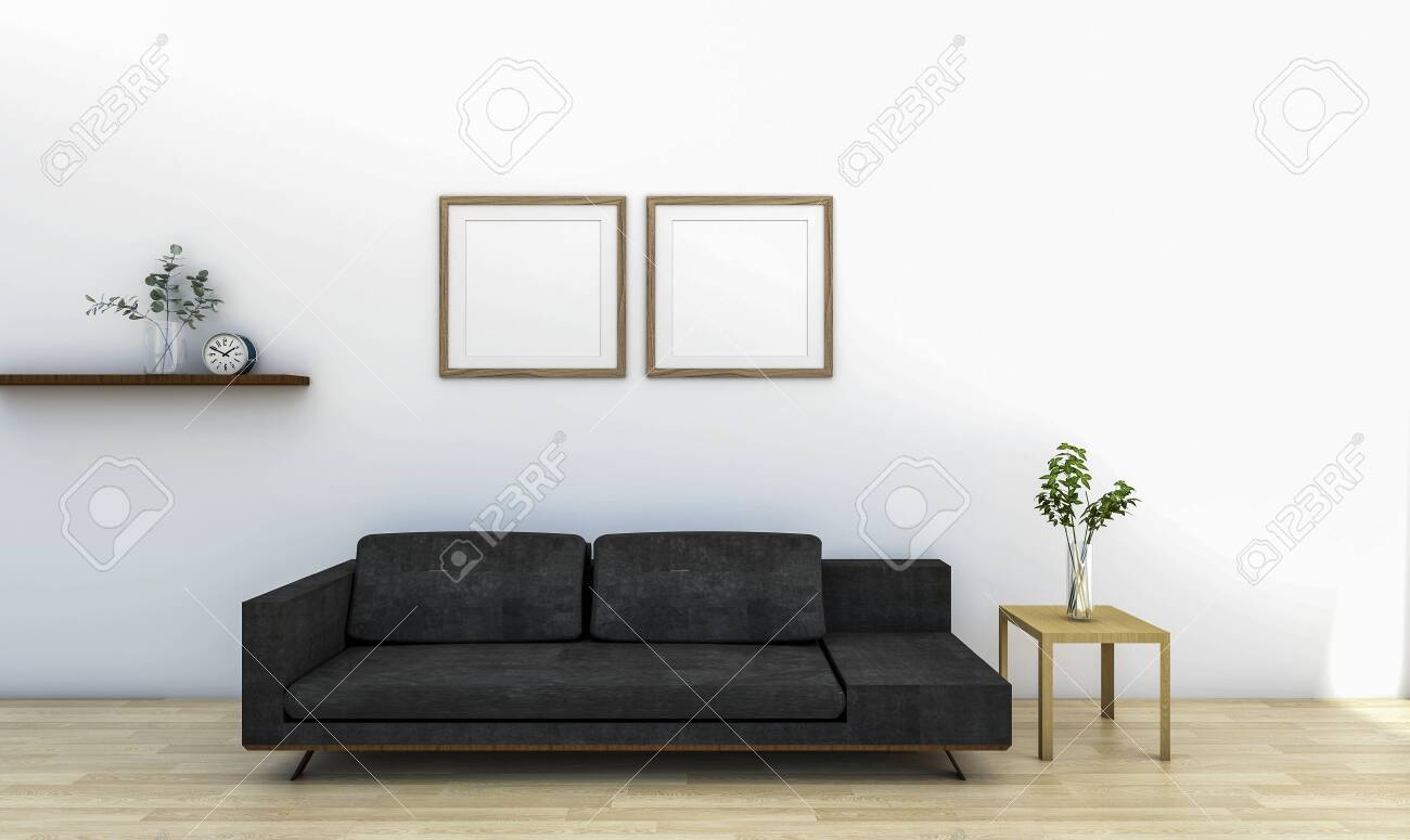 photo living room area with white wall sofa side table indoor plant frame floating shelve 3d rendering