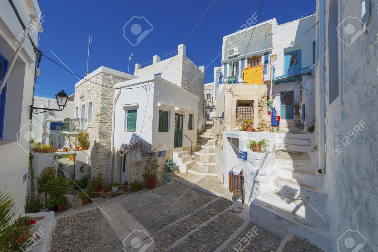 Traditional Greek Houses greece siros, street view of traditional greek houses in chora