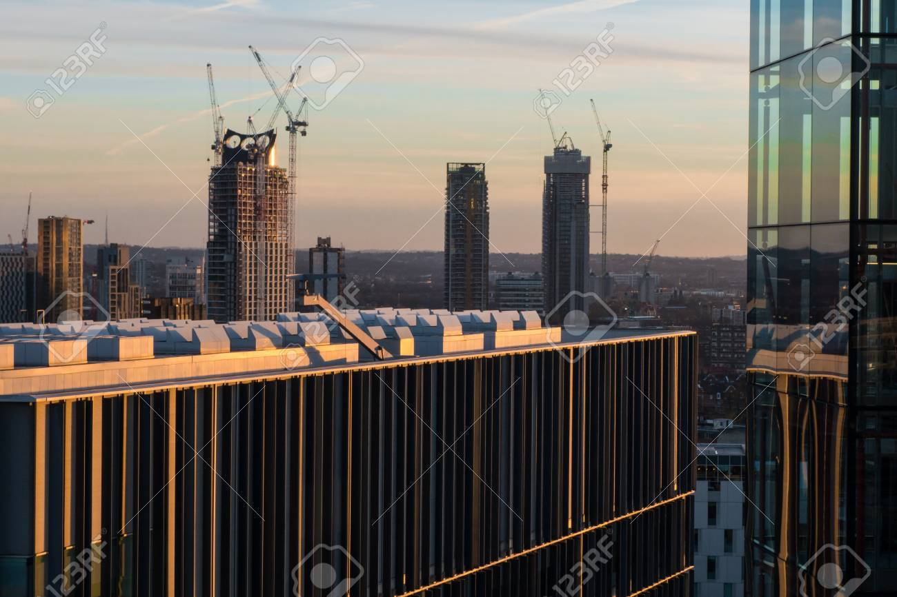 Details Of Office And Apartment Buildings Against London Skyline ...
