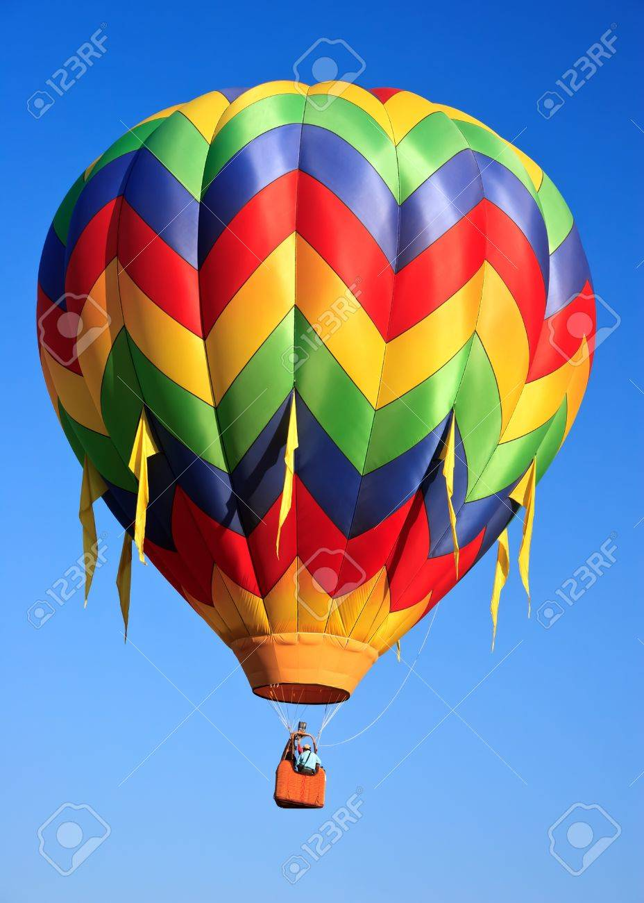 - Colorful Hot Air Balloon On Blue Sky Stock Photo, Picture And