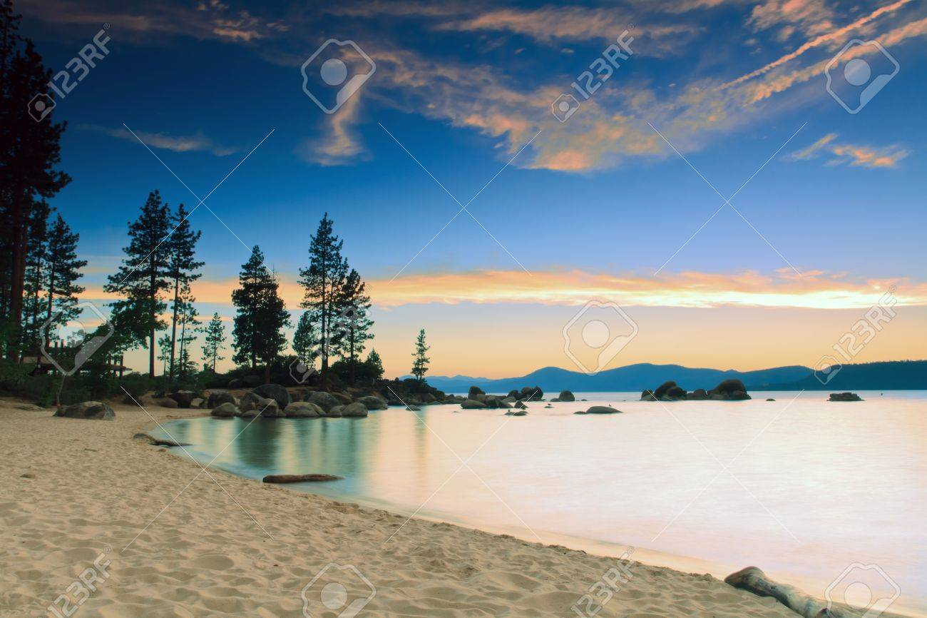 Lake Tahoe after sunset Stock Photo - 14458381