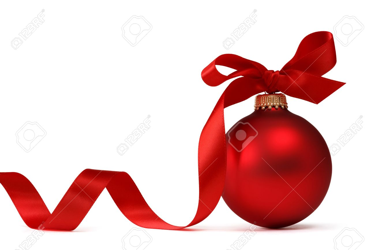 Red Christmas Ball With Ribbon Stock Photo, Picture And Royalty ...