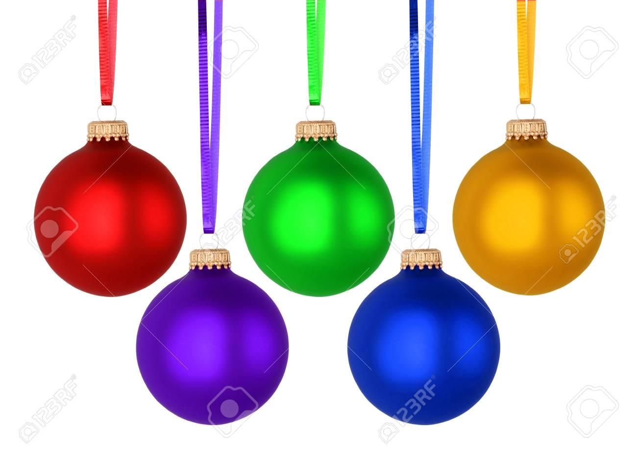 Colorful Christmas Balls.Set Of Colorful Christmas Balls