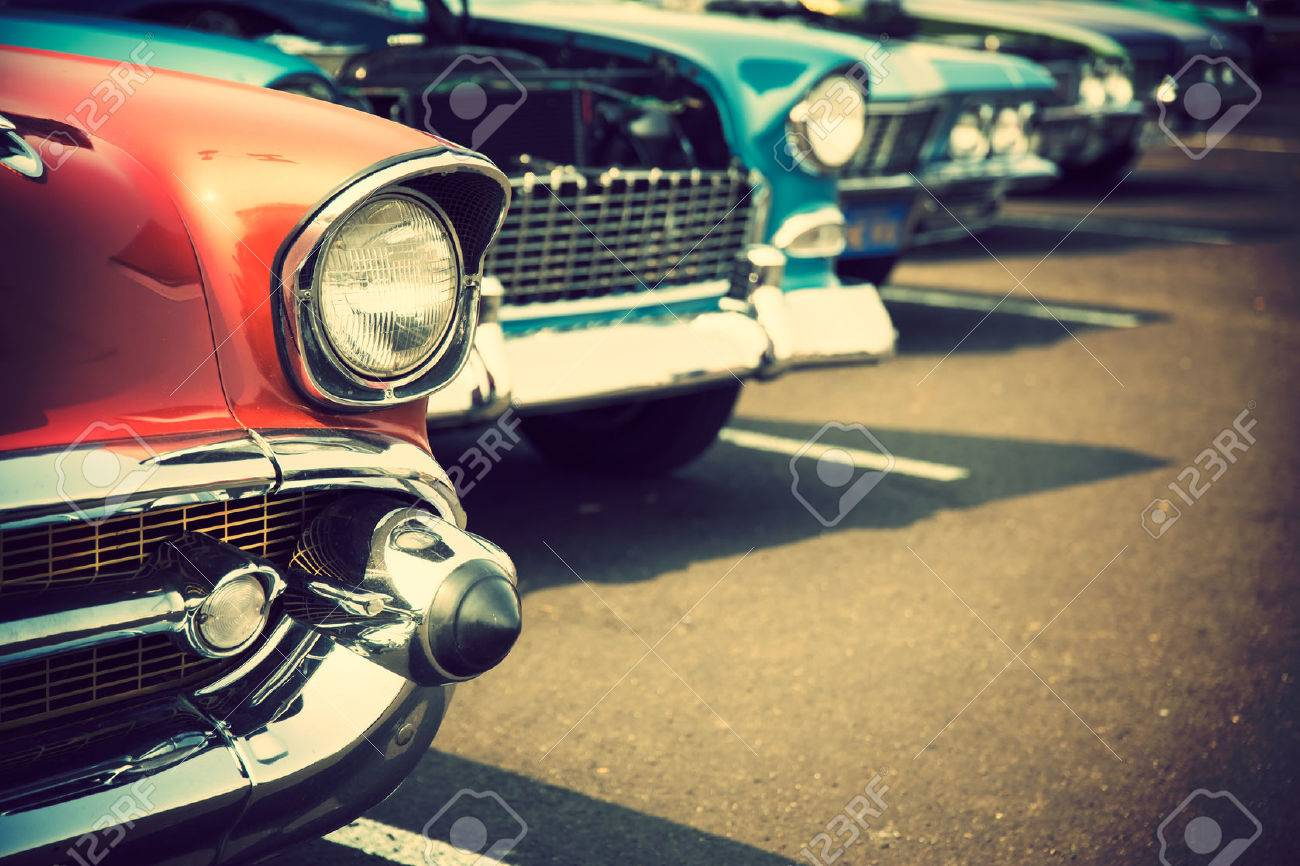 Classic cars in a row Stock Photo - 52543642
