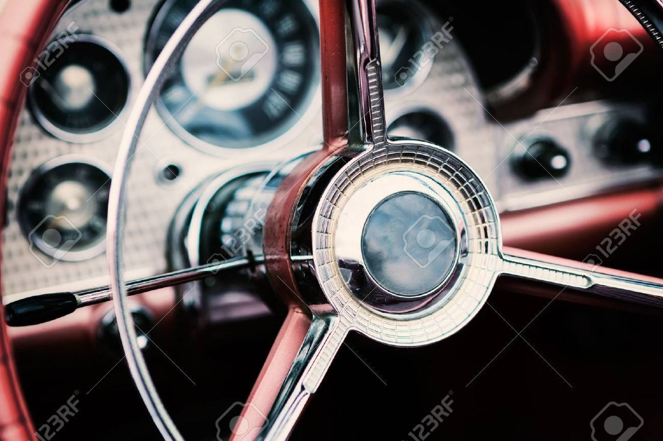 Classic Car With Close-up On Steering Wheel Stock Photo, Picture And ...