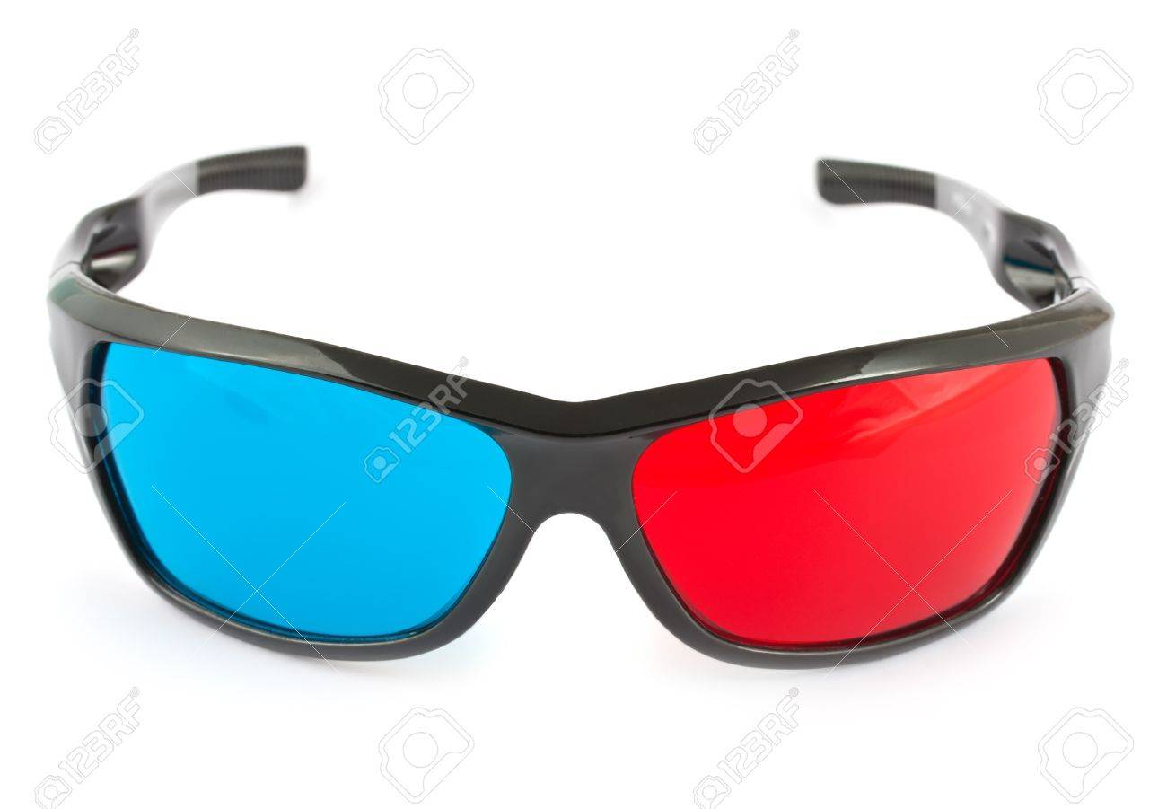 3d glasses in red and blue isolated on white background Stock Photo - 9390300