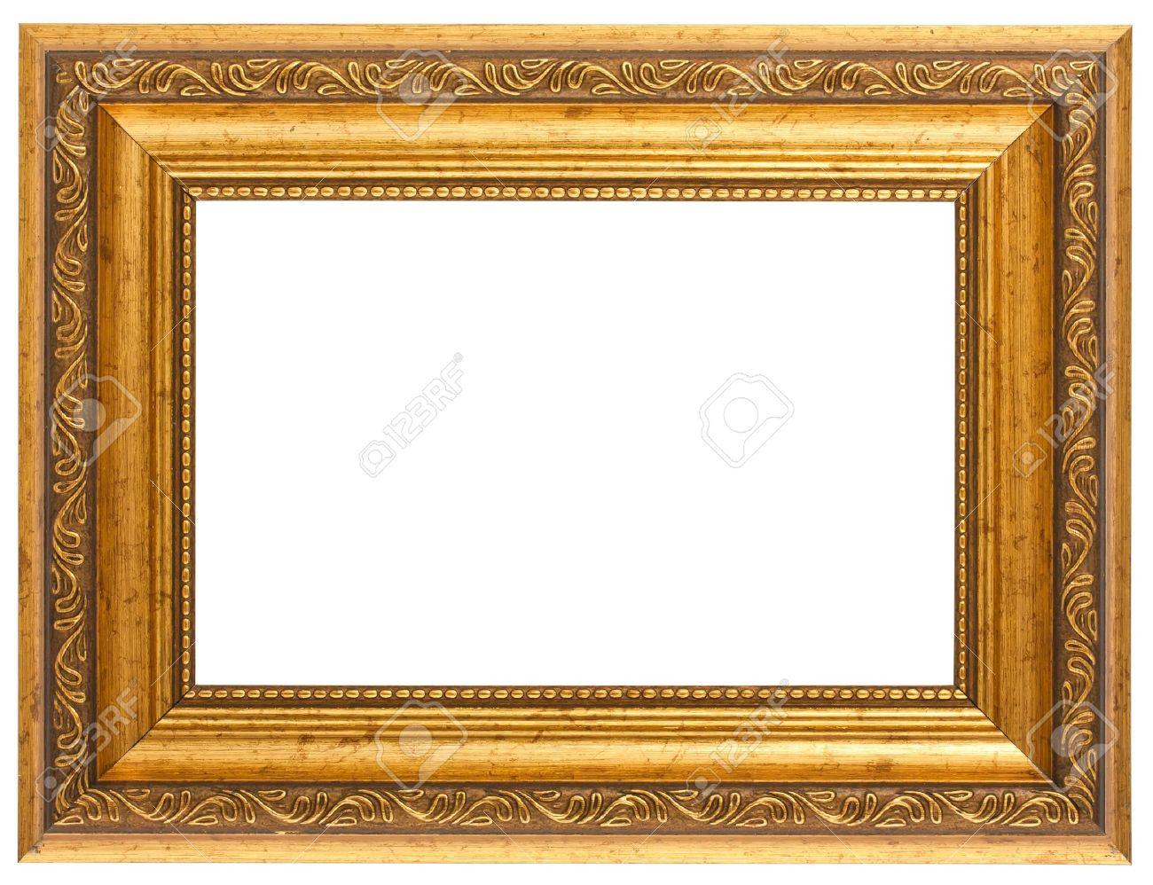 Golden antique frame isolated on white background Stock Photo - 9390306