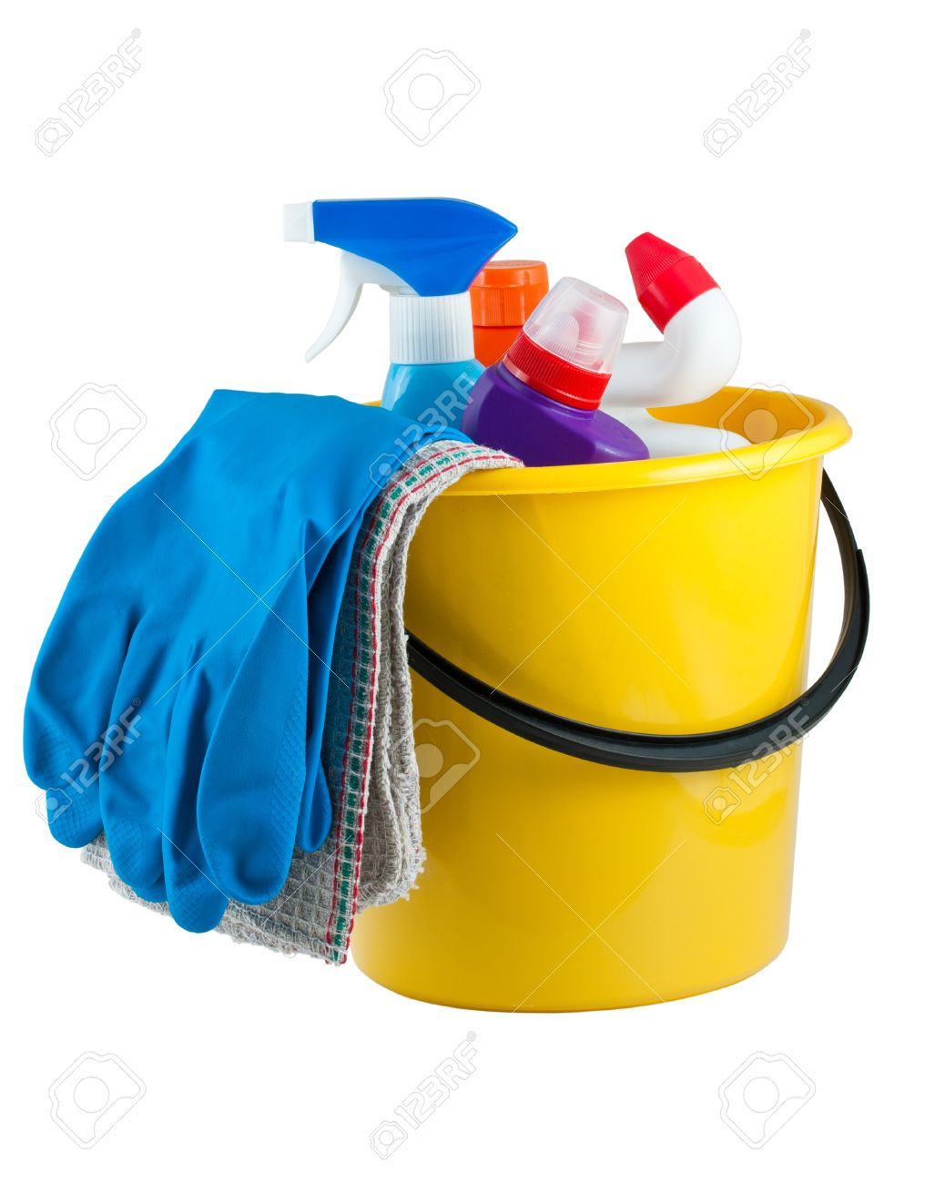 Yellow bucket with cleaning supplies isolated on white background Stock Photo - 11733199