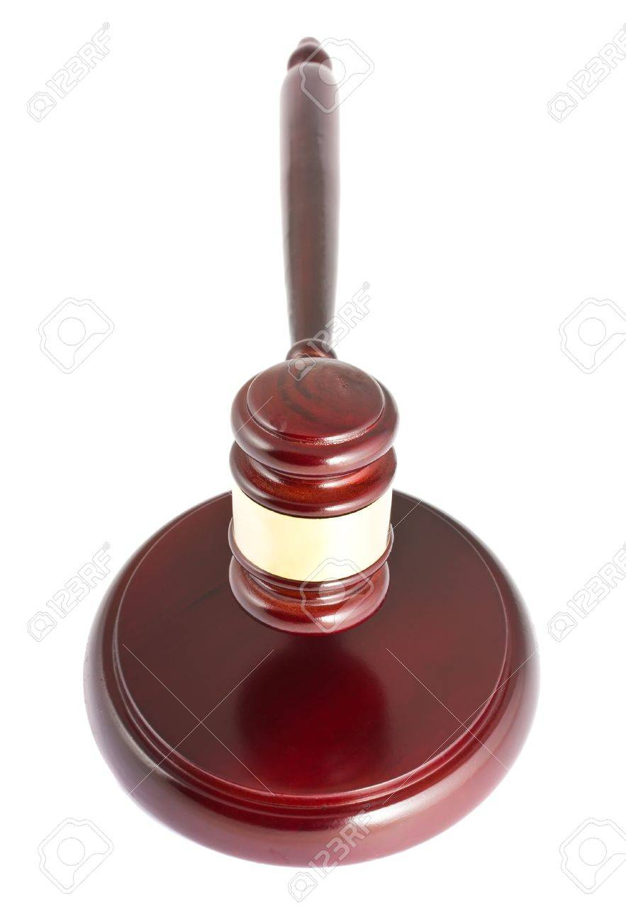 Brown wooden gavel isolated on white background Stock Photo - 12081280