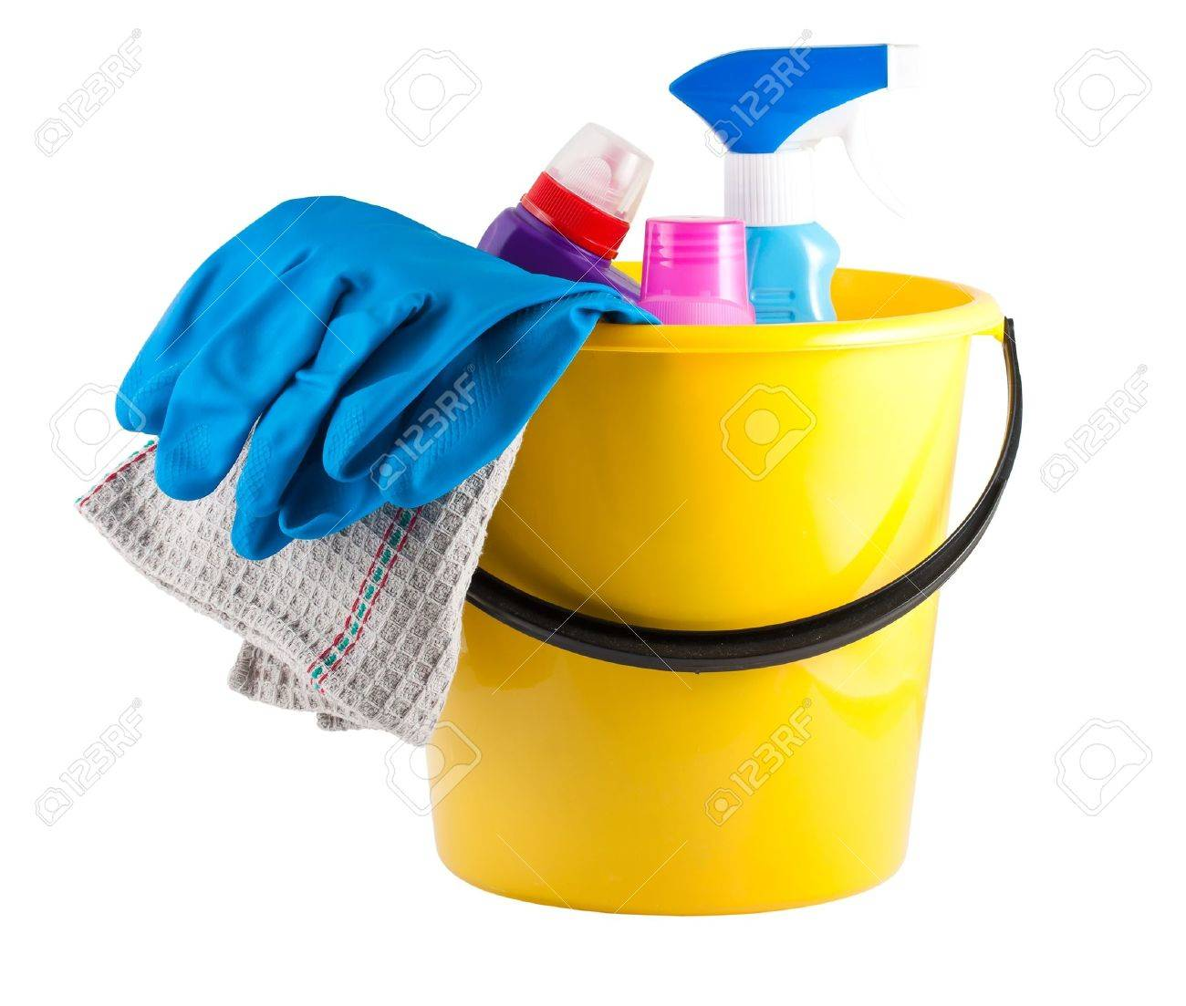 Yellow bucket with cleaning supplies isolated on white background Stock Photo - 12334058