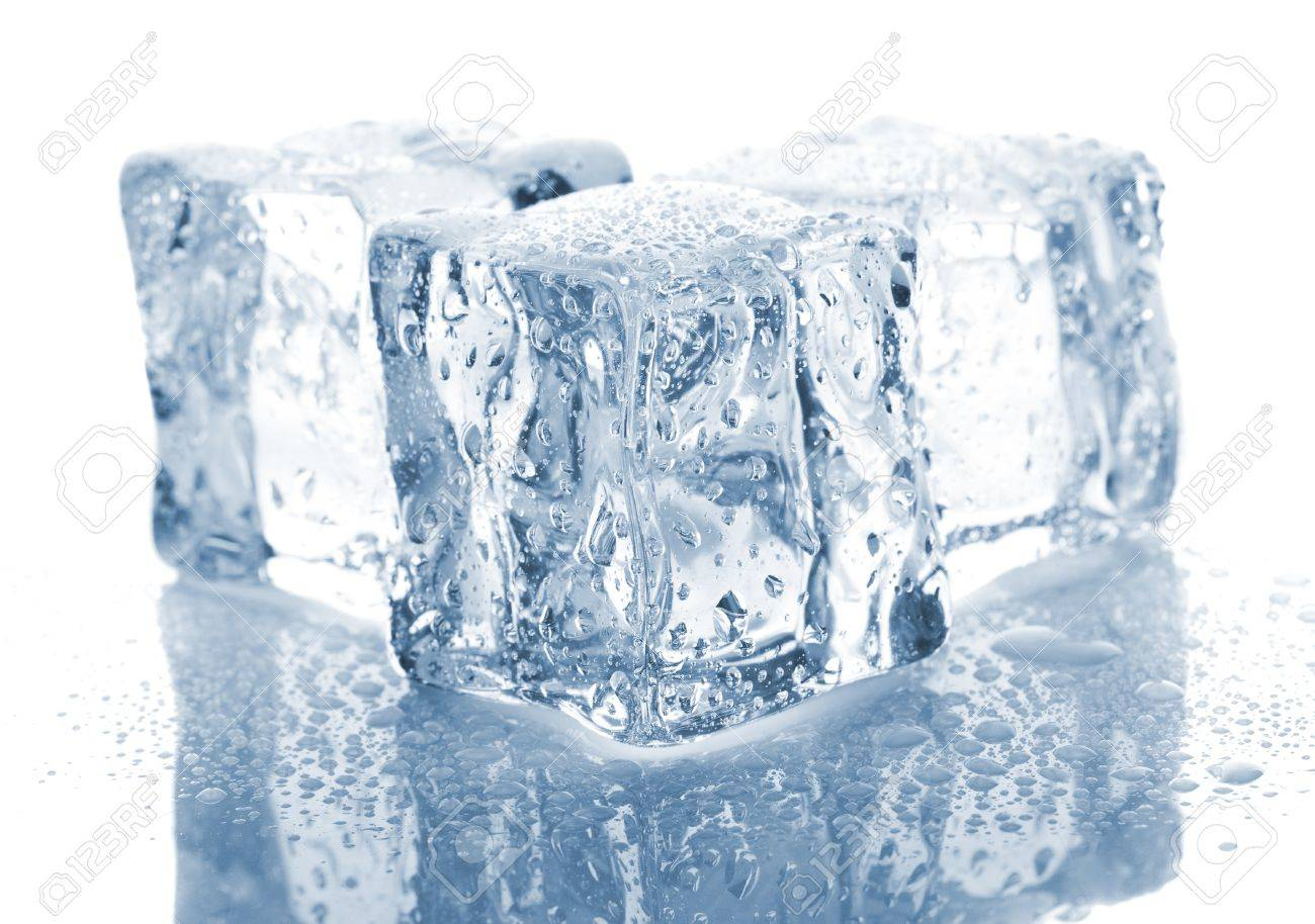 Three melting ice cubes on white background Stock Photo - 12665420