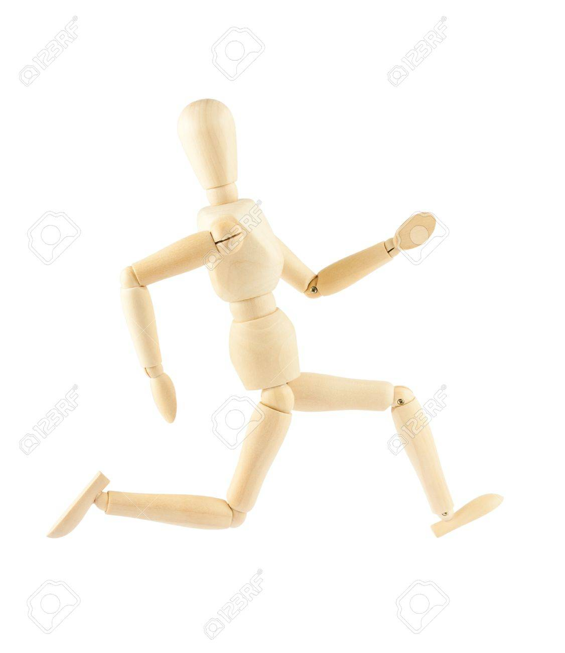wooden mannequin running isolated on white background stock photo