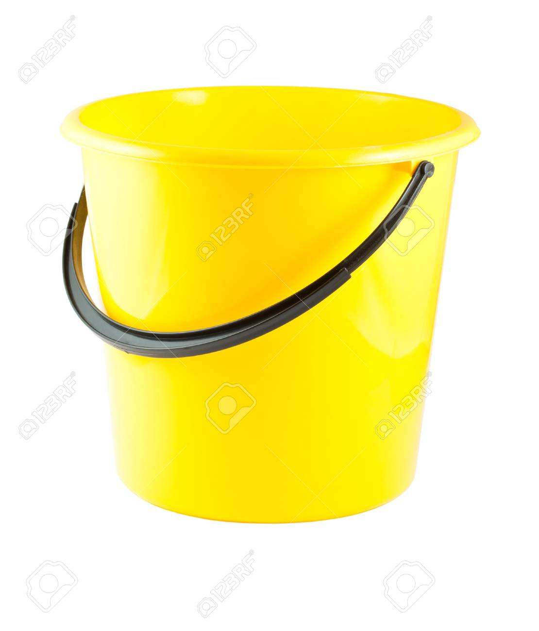Yellow plastic bucket isolated on white background Stock Photo - 14404146
