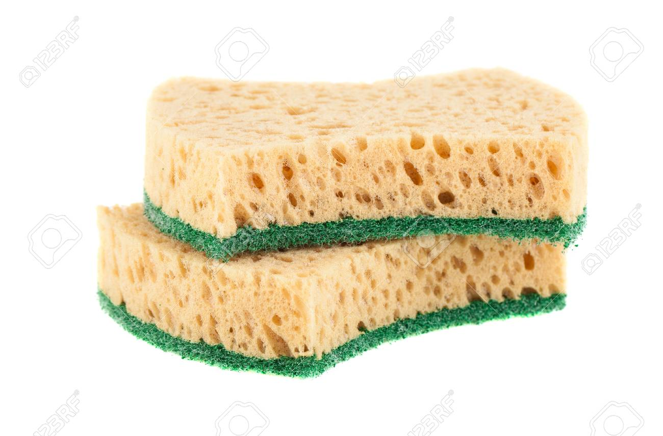 Pair of washing sponges isolated on a white background Stock Photo - 17689327