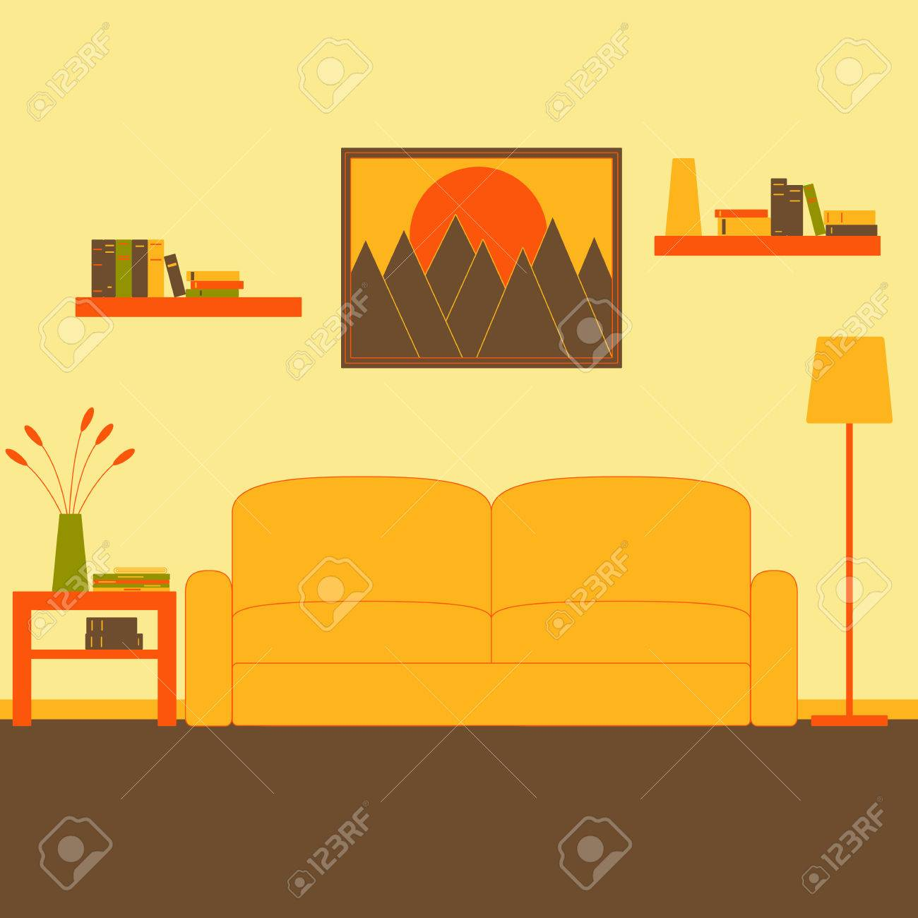 Living Room Interior With Sofa, Floor Lamp, Coffee Table With Magazines,  Newspaper,