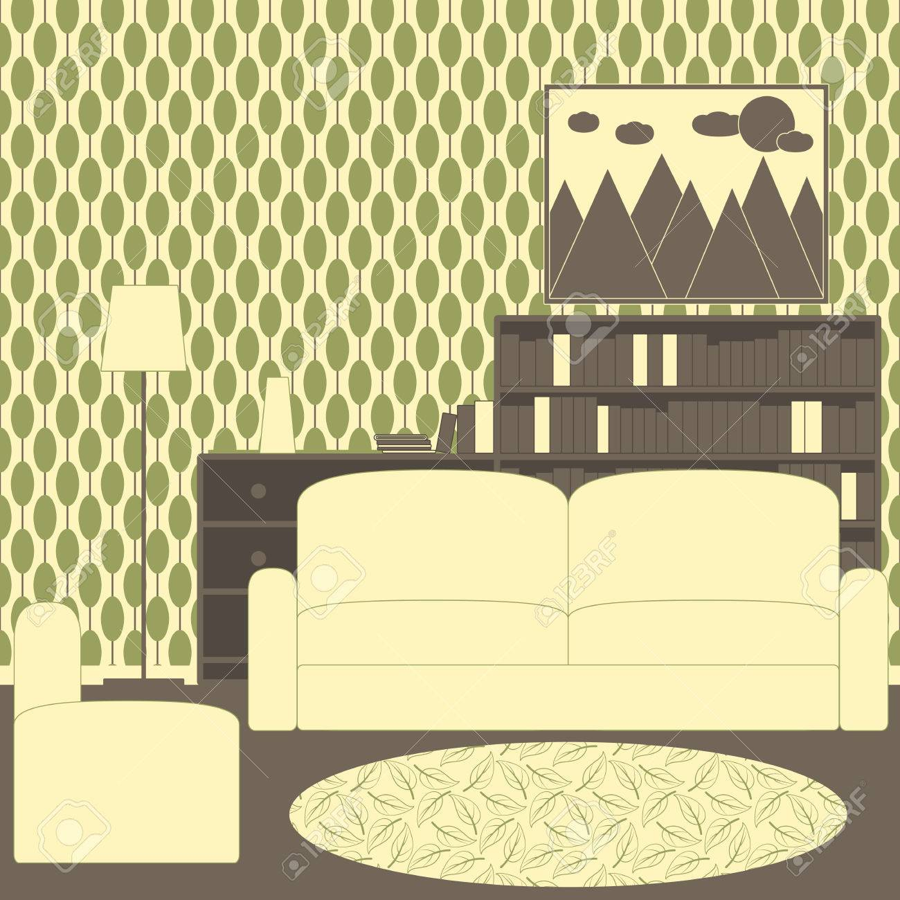 Living Room Interior With Vintage Wallpaper Sofa Armchair