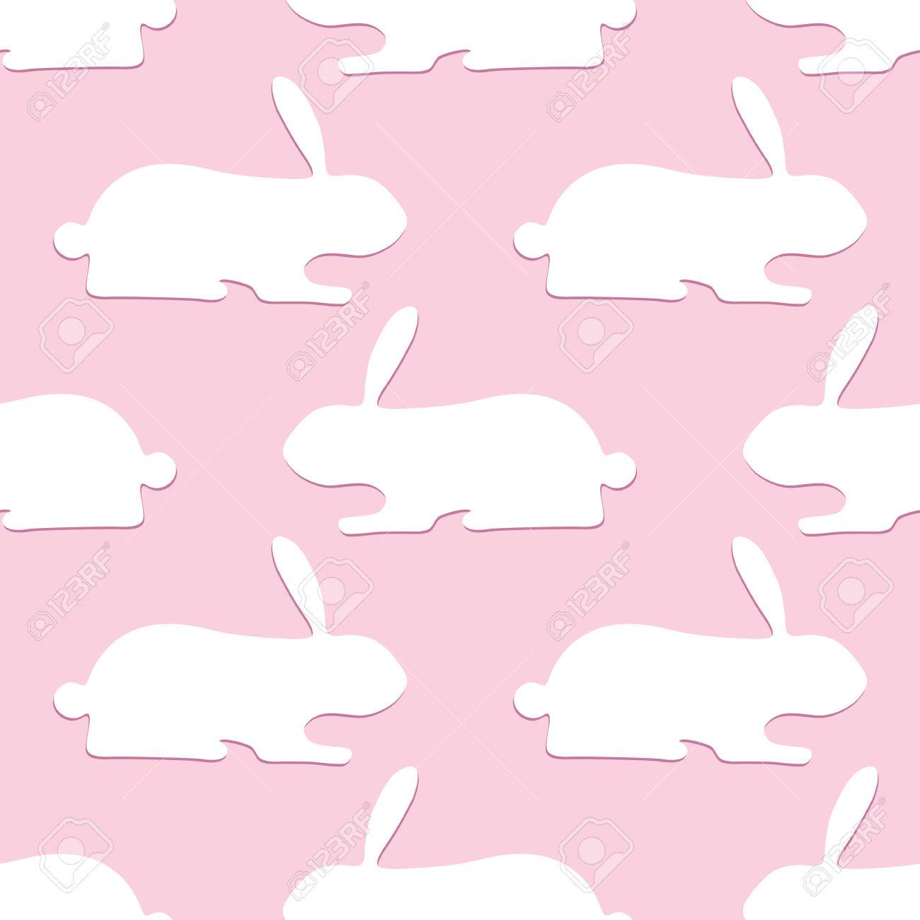 Seamless pattern with opposite lines of white bunnies with dark seamless pattern with opposite lines of white bunnies with dark pink shadows lying one after another m4hsunfo