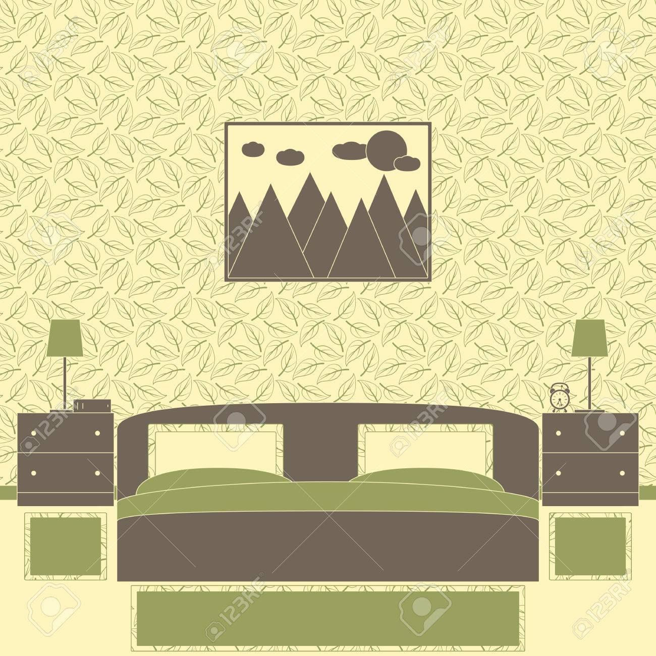 Bedroom Interior Im Japanischen Stil Mit Gemusterten Tapeten, Eine ...