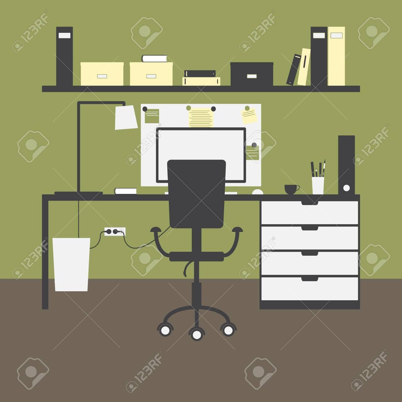 Arbeitsplatz Mit Grossem Tisch Stuhl Lampe Monitor Maus Cup