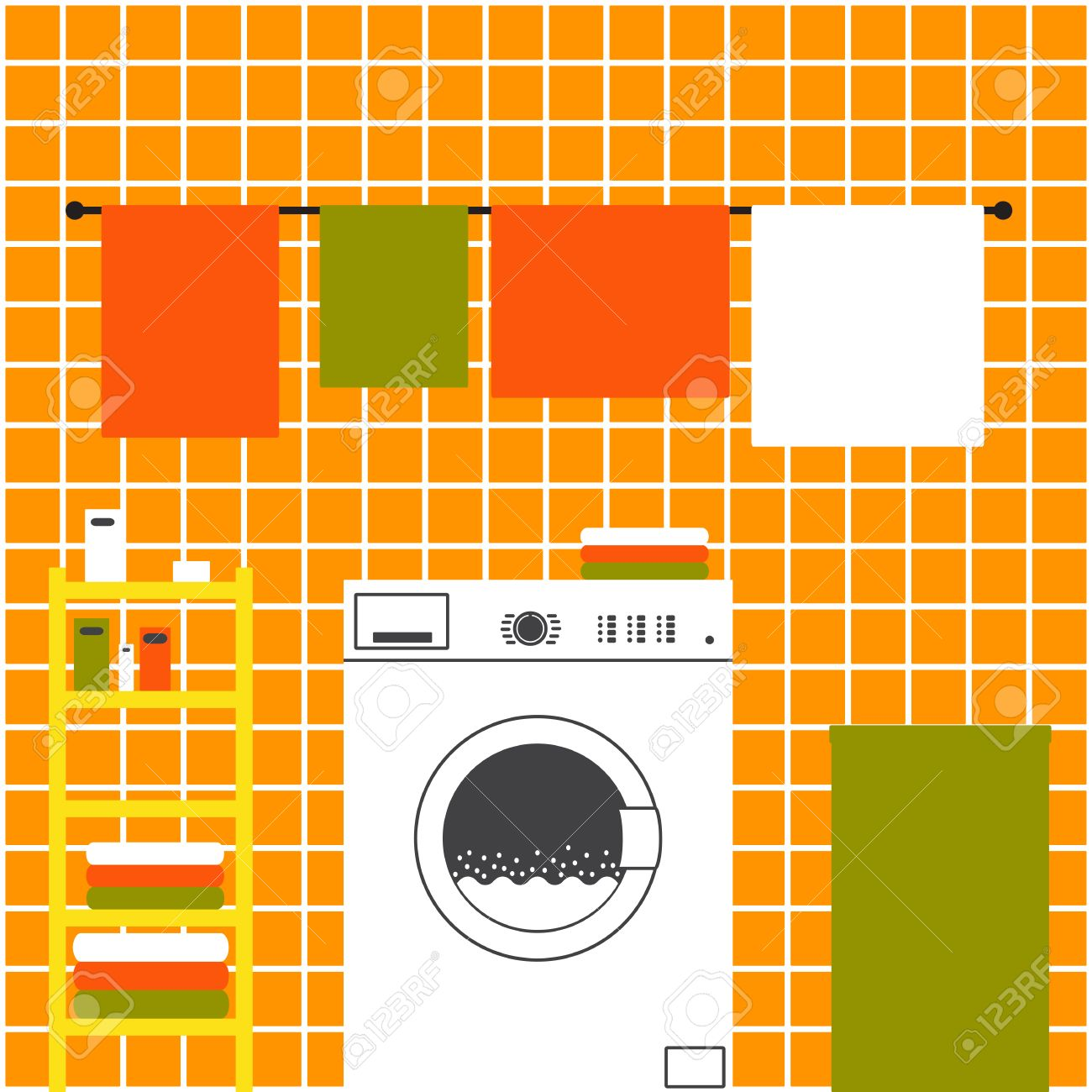 Orange laundry room interior with ceramic tile wall front loading orange laundry room interior with ceramic tile wall front loading type washing machine laundry dailygadgetfo Gallery
