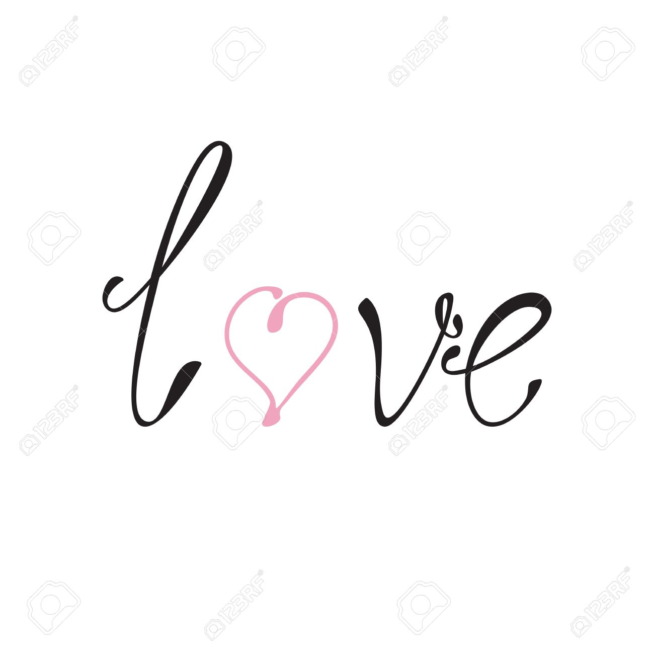Black Colored Lettering Love With Pink Letter O In The Shape