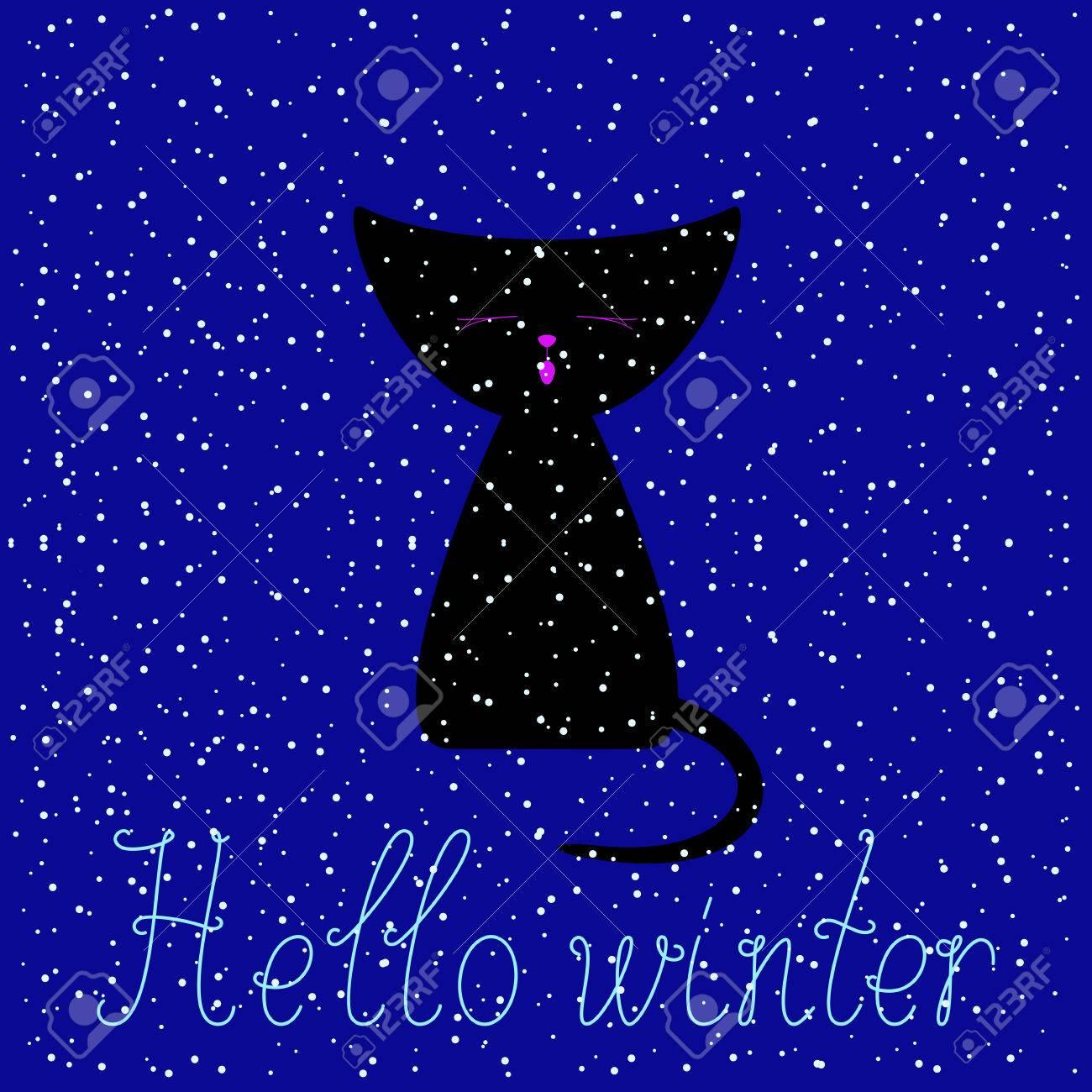 noir mignon chaton de couleur miaulements à fond de couleur bleu